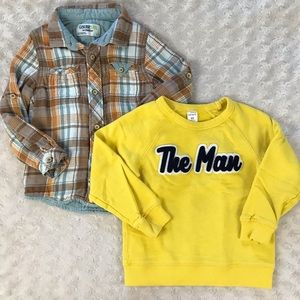 4T Boy Top Bundle Yellow The Man Sweatshirt Plaid